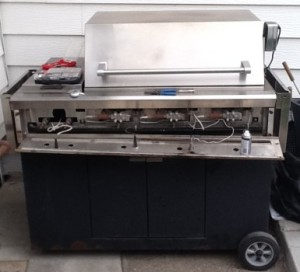 DCS Model A 48 Inch barbecue grill on a cart